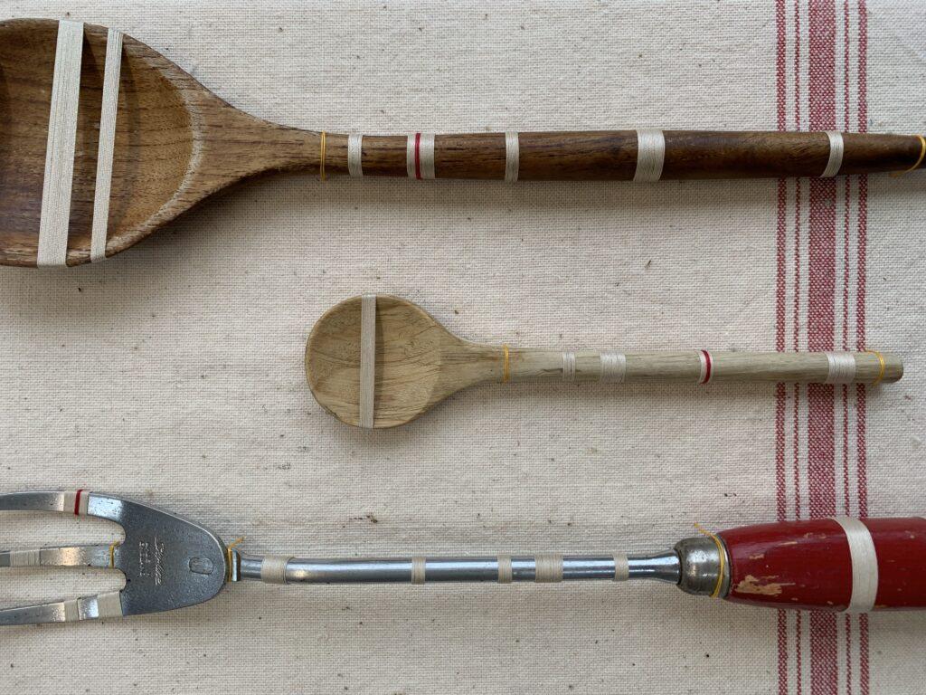 Bound part 1 - vintage kitchen utensils wrapped in vintage cream cloured thread and red sylko thread