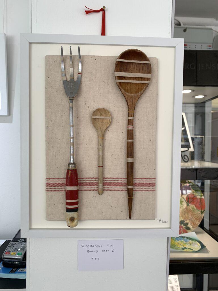 vintage kitchen utensils bound with vintage thread
